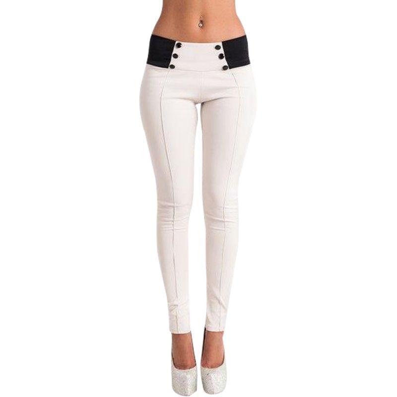 Pantalones de lápiz delgados ocasionales de la moda de las mujeres Pantalones de las polainas del estiramiento flacos de los colores del caramelo