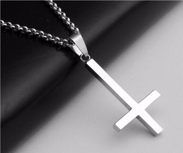 Hot invertido cruz de st peter aço titanium aço inoxidável 316l colar de pingente lucifer satã moda vintage do punk jóias