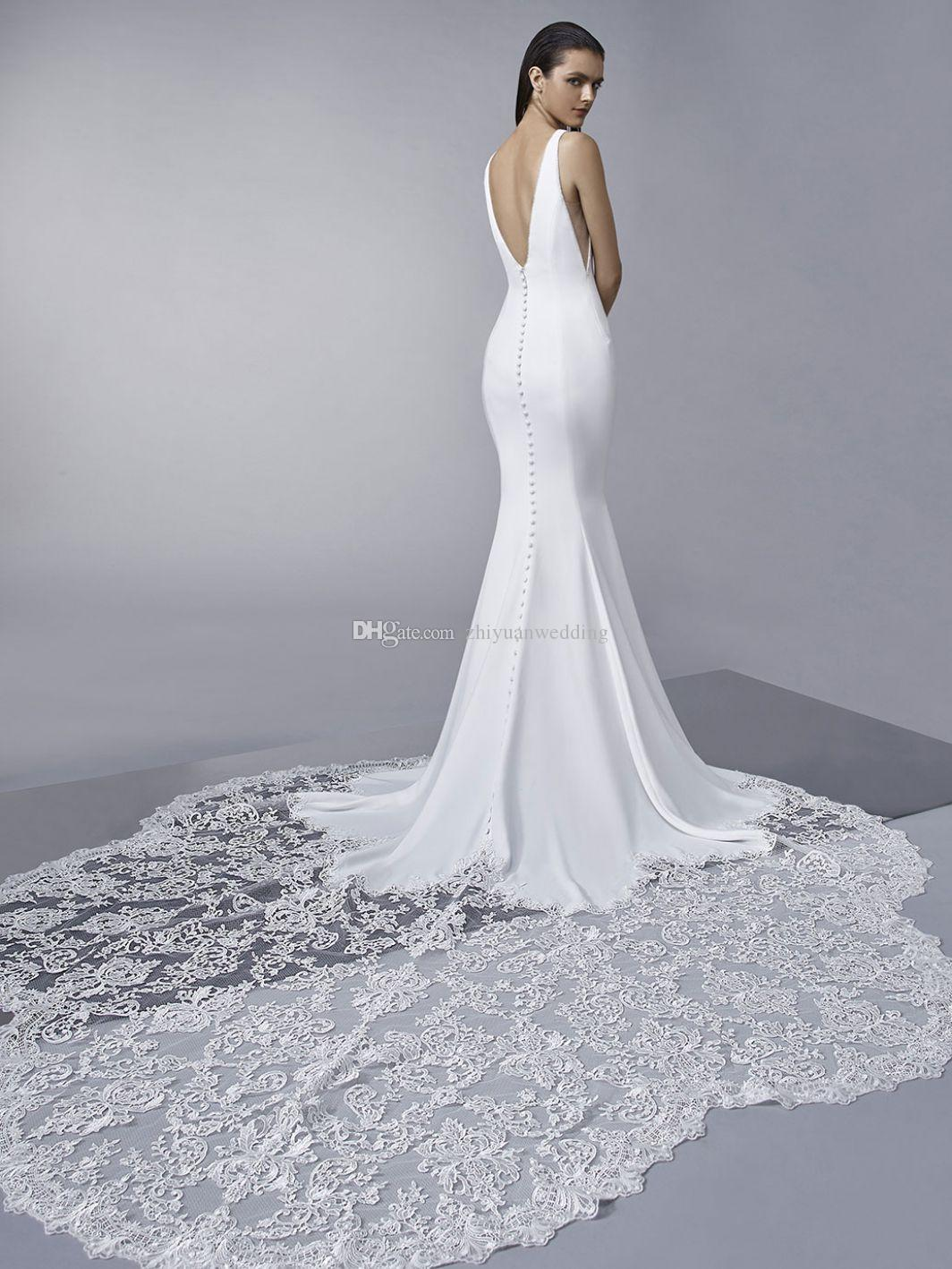 Simple Front And A Jaw Dropping Lace Train Mermaid Wedding Dresses ...