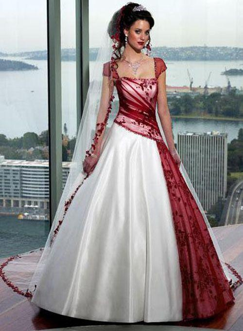 Red and White Gothic Wedding Dresses Cap Sleeves Ruched Lace ...