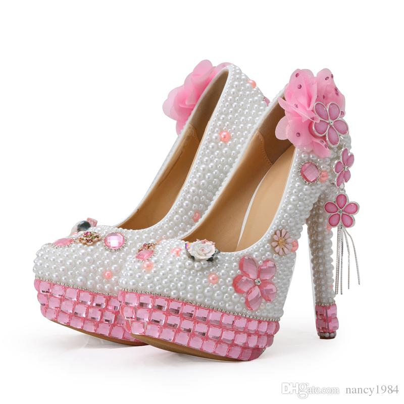 af238dc7516 2019 Handmade Pink Crystal High Heels Bling Bling Rhinestone And White  Pearl Wedding Shoes Bridal High Heel Party Prom Shoes Champagne Bridal  Shoes ...