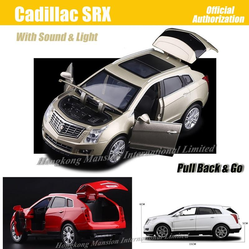1:32 Escala de Lujo SUV Diecast Aleación de Metal Modelo de Coche Para Cadillac SRX Colección Off-road Modelo Pull Back Juguetes Coche