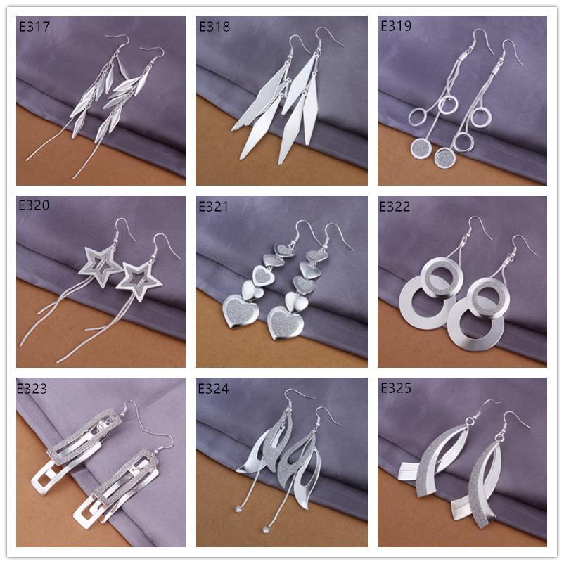 a ordem da mistura 9 pares de diffrent 925 Brinco de Prata GTE31, alto grau de atacado de moda de prata esterlina Dangle Brincos Chandelier estilo das mulheres