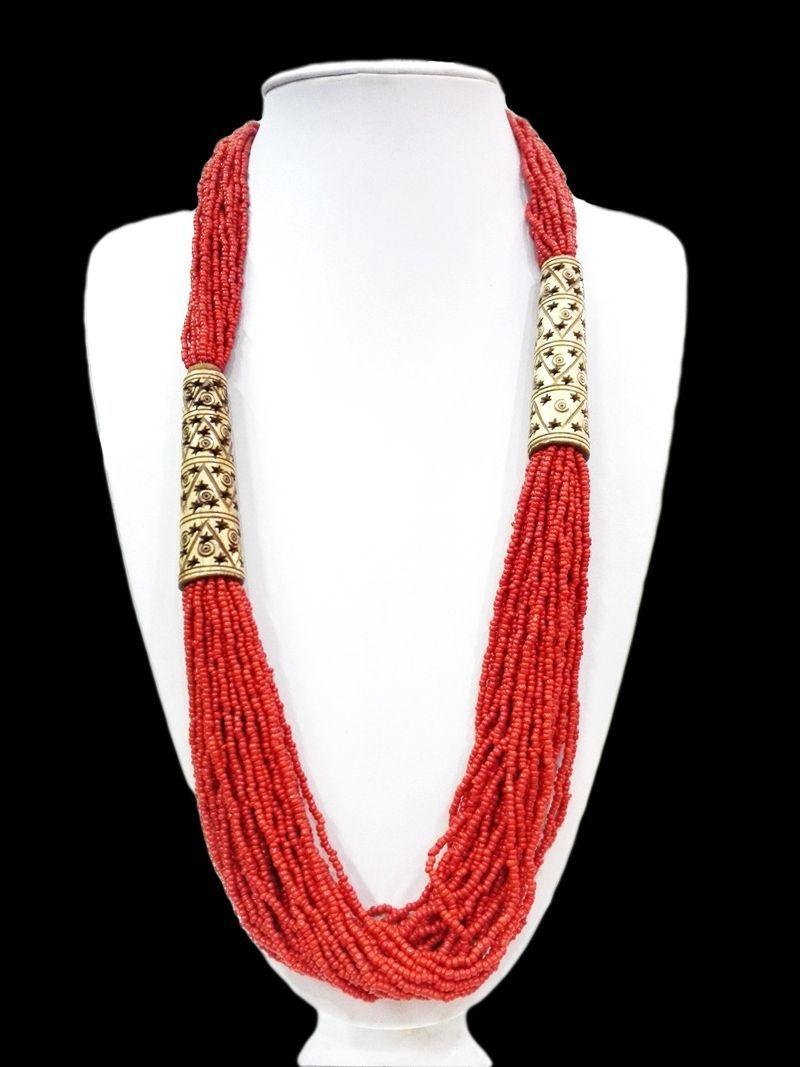 """27 """"민족 빨간 구슬 긴 목걸이 다층 조각 된 빈 여자 우먼 선물 oyzz - 0010"""