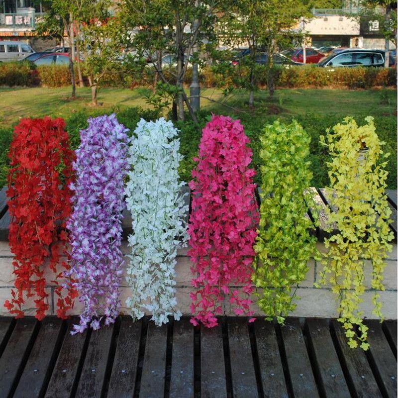 De Bonne Qualité Artificielle Blanc Fleur De Cerisier Fleur De Vigne Wisteria Plante Maison Décorative Fleurs De Soie Pour Les Décorations De Fête De Mariage