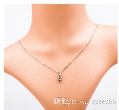 женская личность кошка кулон ожерелье золото серебро женская мода короткие цепи ожерелье ключицы мелких животных сладкий кошка кулон ожерелье