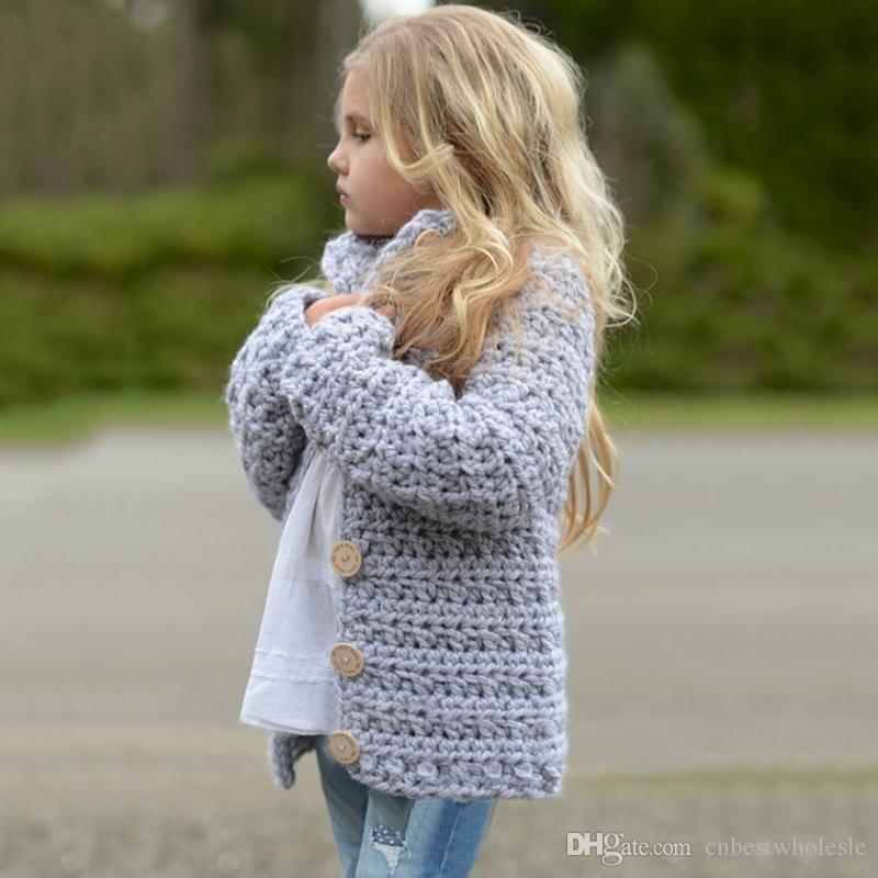 Baby Girls Knit Crochet Sweaters Kids Girls Singlet Breasted Pullover  Babies Autumn Winter Cardigan 2017 Baby Clothes Girls Crop Cardigan Girls  Ivory