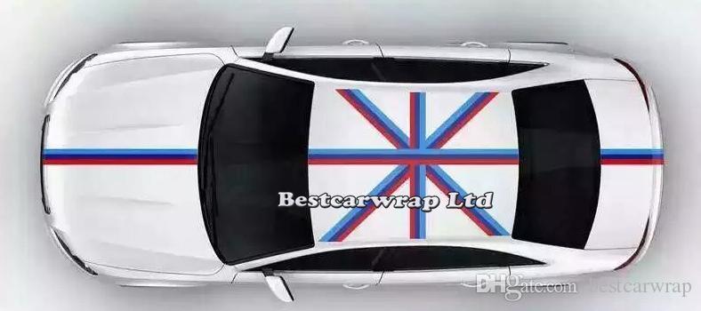 Decalcomanie per auto cofano bandiera blu bianco rosso cappuccio decalcomanie per cofano, tetto, tronco per volkswagen / mini auto fai da te decalcomanie 15cmx30m / rotolo