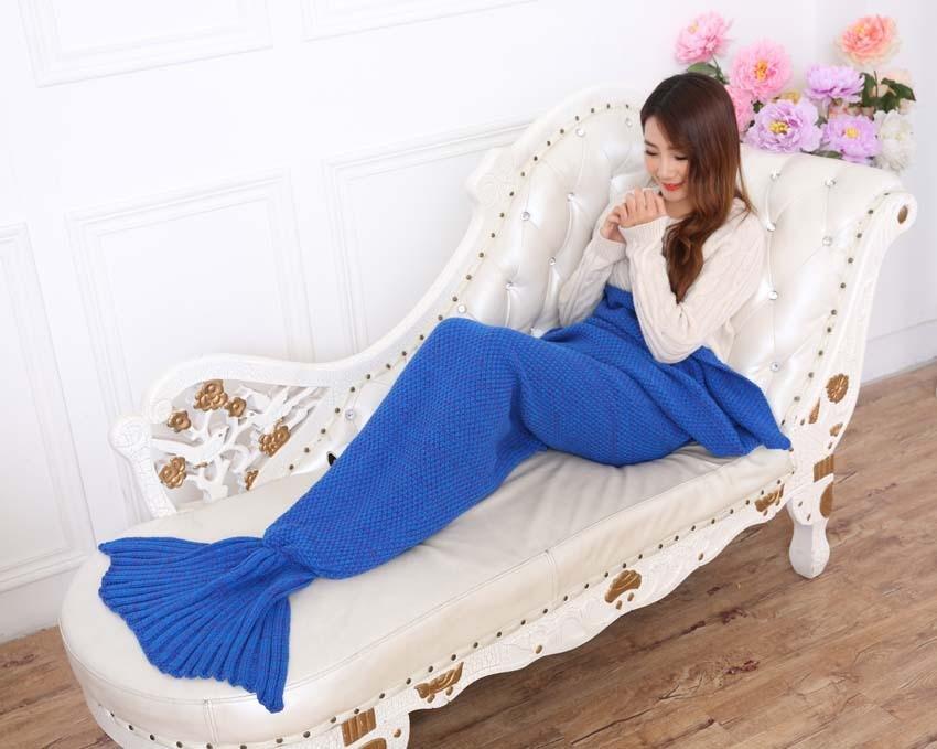 Yarn Knitted Mermaid Tail Blanket Handmade Crochet Mermaid Blanket Kids Throw Bed Wrap Super Soft Sleeping Bed X184 (7)
