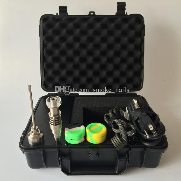 2018 New Upgrade waterproof Box E Digital Nail Kit with 6 IN 1 Ti/Qtz hybrid nails Combustion WAX oil Vaporizer kit Portable