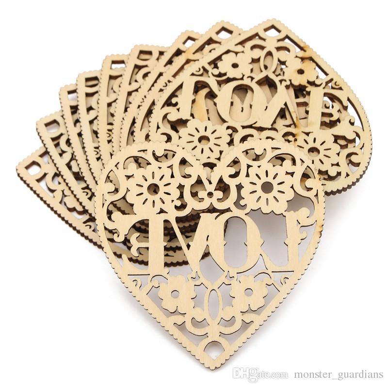 10X Hollow Cut Decorative Heart Unfinished Wooden Shapes Craft Embellishmen UKP