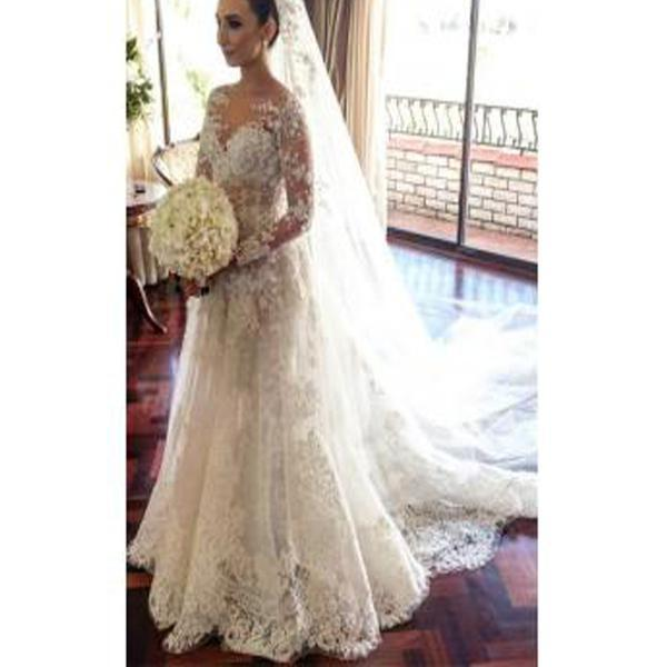 Discount Wedding Dress For Pregnant 2017 Long Sleeve Flowers Custom ...