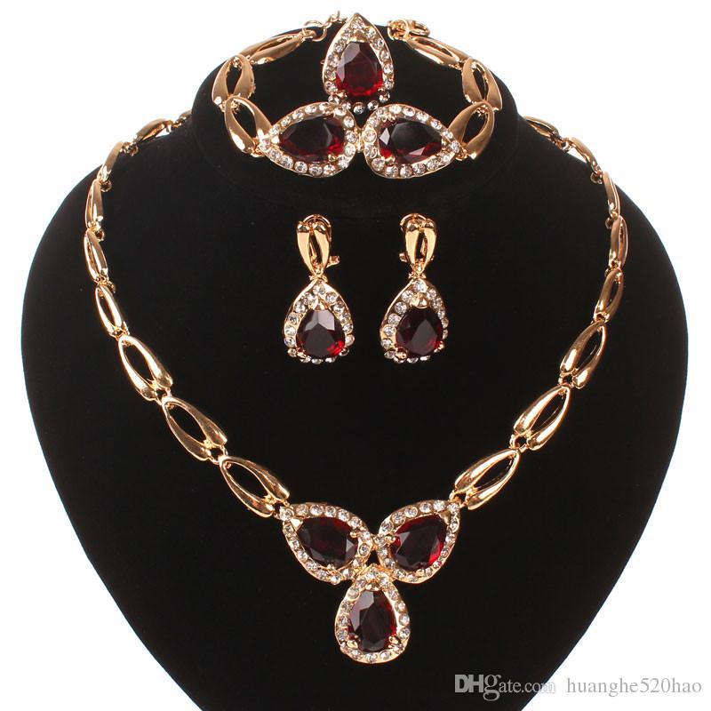 Nouveau Rubay Rubis Crystal Autrichien Ensembles de bijoux Collier Bracelet Boucles d'oreilles Bague Mariage Costume Costume Ensemble Boîtiers