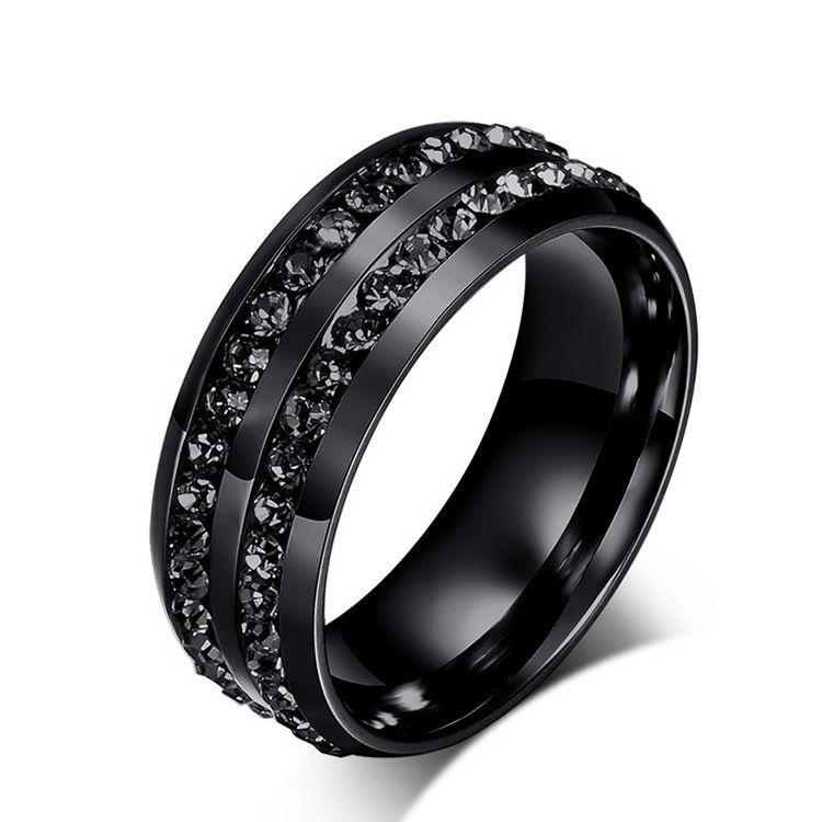 Fashion Stainless Steel Jewelry Diamond Rings Korean Titanium Steel Mens Wedding Band Mens Rings Black Diamond Ring Princess Cut Diamond From Sep9 September 1 06 Dhgate Com