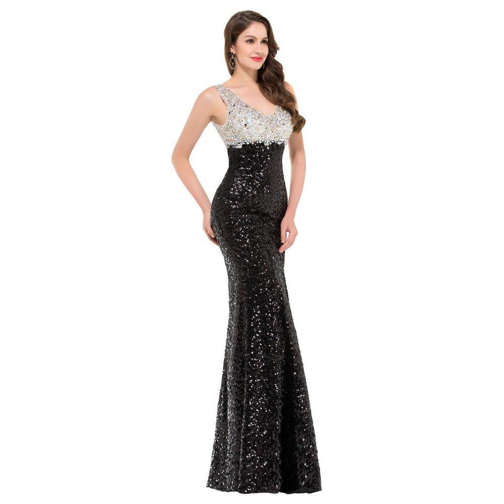 großhandel 2019 neueste luxus glitter pailletten meerjungfrau abendkleider  schwarz weiß abendkleid formale verlobungsfeier kleid lange abendkleid nach