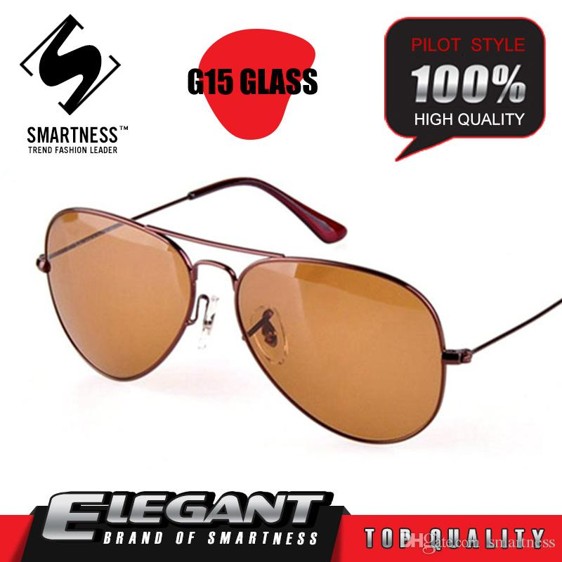 New Handmade 2016 sunglasses pilot fishing Glass brown lens titanium frame men summer vintage retro brand Pilot 03025 03026 style sunglasses