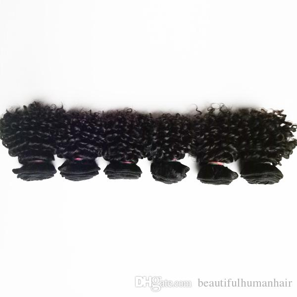 Beautiful European Brazilian Virgin Human Hair extensions new short type 6inch 8inch Kinky Curly 6pcs Indian remy hair 50g/pc in stock