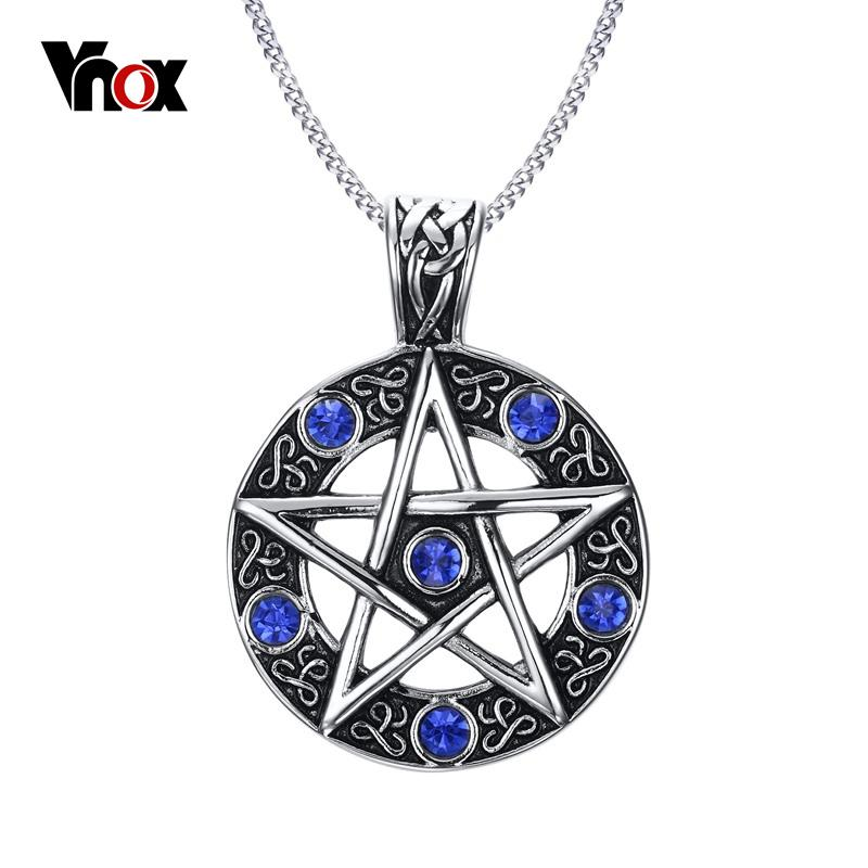 Collana pendente pendente pentagramma pentagramma stella a cinque punte da uomo nuovo vintage Collana uomo diamante blu con catena da 24 pollici