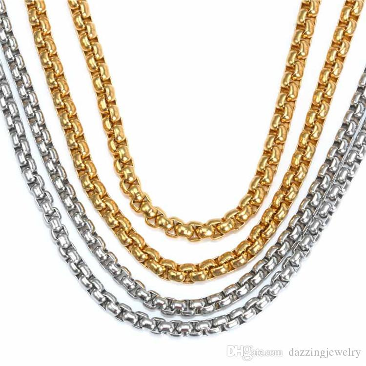 24'' (60cm) and 20'' (50cm) 316L Stainless Steel 2.5mm 3mm 4mm Square Rolo Chain Floating Locket Chain Floating Charm Locket Men Necklace