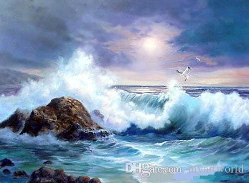 ondas seascape do oceano com pássaro rocha de alta qualidade pintado à mão HD Imprimir seascape Art Pintura a óleo sobre tela multi tamanhos disponíveis