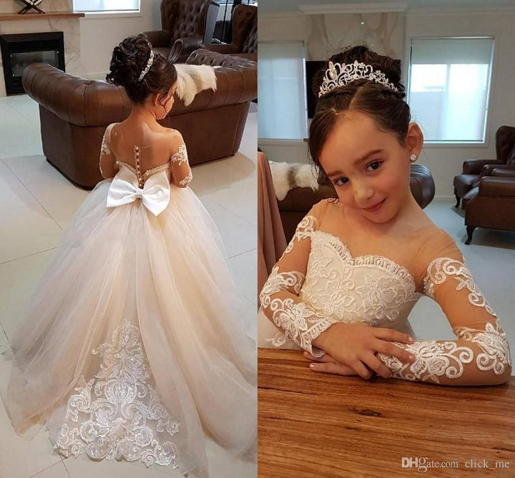Long Sleeves Flower Girls Dresses With Lace Appliques Beads Bow Sheer Neckline Girl Pageant Dress Sexy Back Birthday Kids Communion Dress