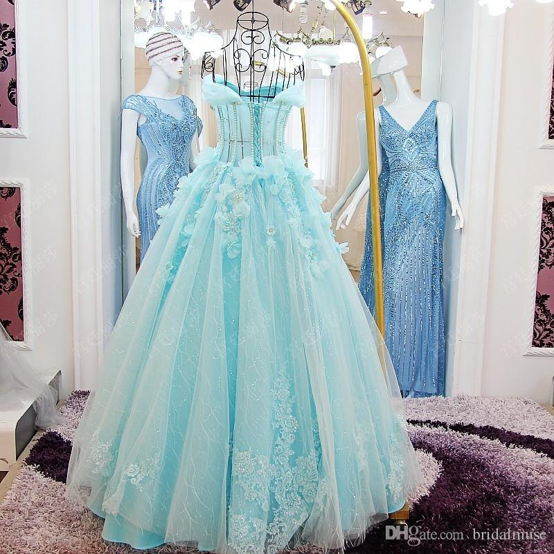 Discount 2018 Turquoise Wedding Dresses Off The Shoulder Beaded ...