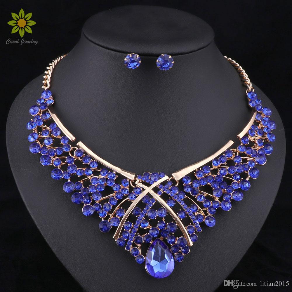 Conjunto de joyas de la joyería de las cuentas de África Conjuntos de joyería de la boda de Nigeria de la moda para las novias Pendientes de pendientes de collar de oro 5colors