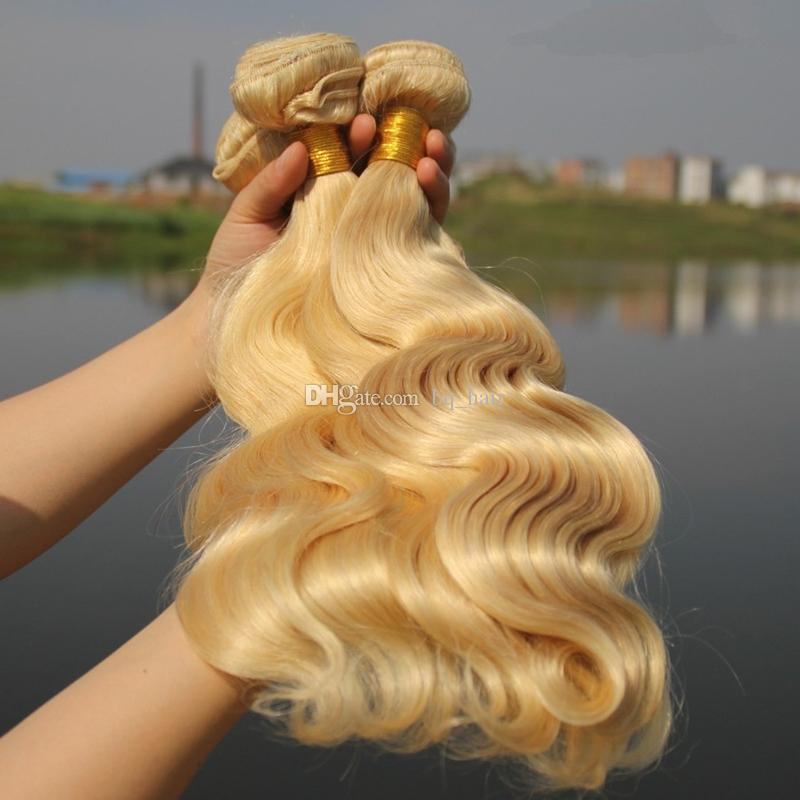 New Arrival #613 Pure Clolor Hair Weaves Honey Blonde Unprocessed Brazilian Virgin Human Hair 3 Bundles Lot Body Wave Hair Extensions