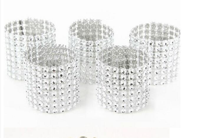"Argent 1.5 ""8 Row Bow Covers Napkin Rings Diamant Strass Mariage Chaise Sash Bows Livraison gratuite"