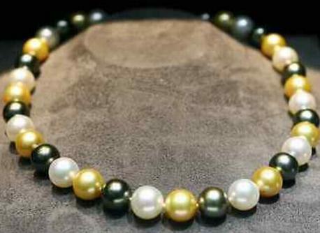 Incantevole collana di perle multicolor in oro nero bianco 9-10m con diamanti, oro 18 carati 14 kt