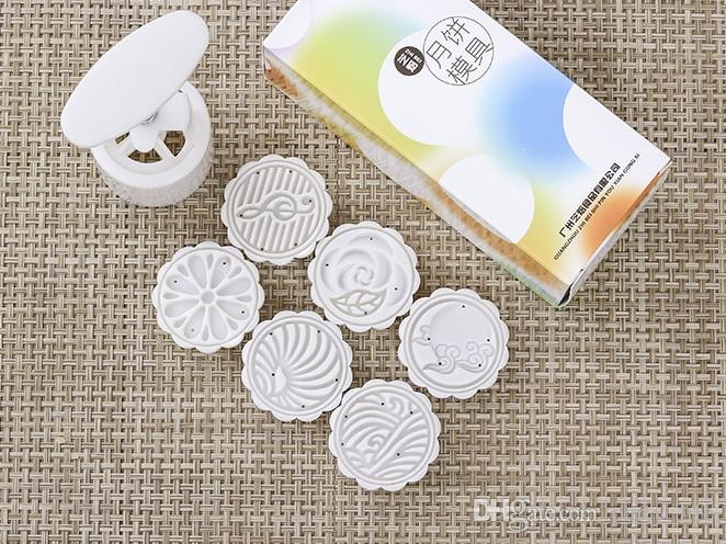 50g round shape musical note flower Leaf patten Moon Cake Molds with 6 Stamps plastic hand pressure chinese moon cake mould,20sets/lot.