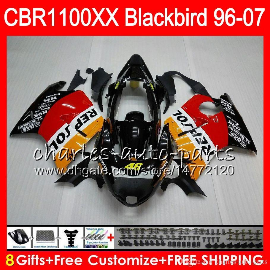 Кузова для Honda CBR1100XX Дрозд CBR1100 ХХ 96 компания Repsol оранжевый 97 98 99 00 01 81HM3 ЦБ РФ 1100 1100XX ХХ 1996 1997 1998 1999 2000 2001 обтекатель