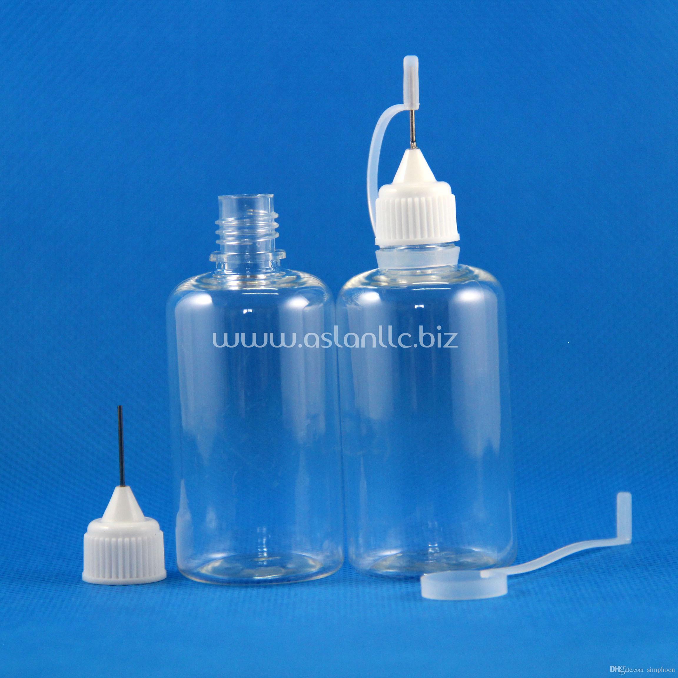 100 Sets / Lote 50ml PET Botellas cuentagotas de plástico transparente Tapas de agujas de metal Puntas de goma seguros Líquidos E Vapor Vape Aceite de jugo 50 ml