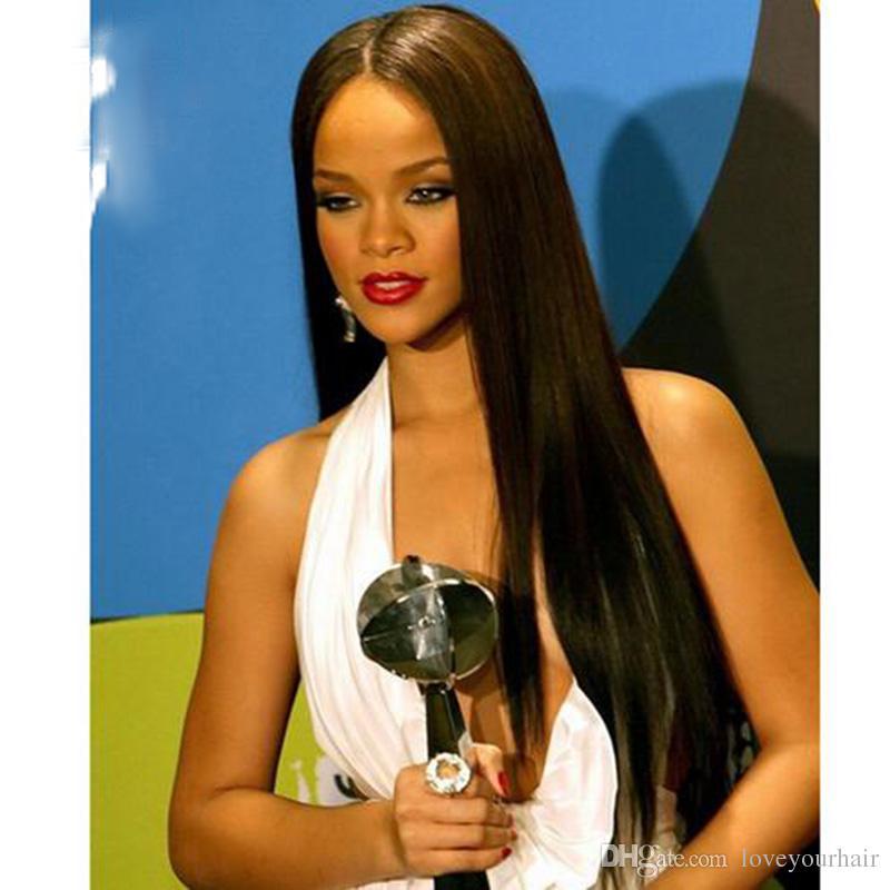 Caliente hermosa larga recta peluca simulación cabello humano largo sedoso recto pelucas para mujer en stock