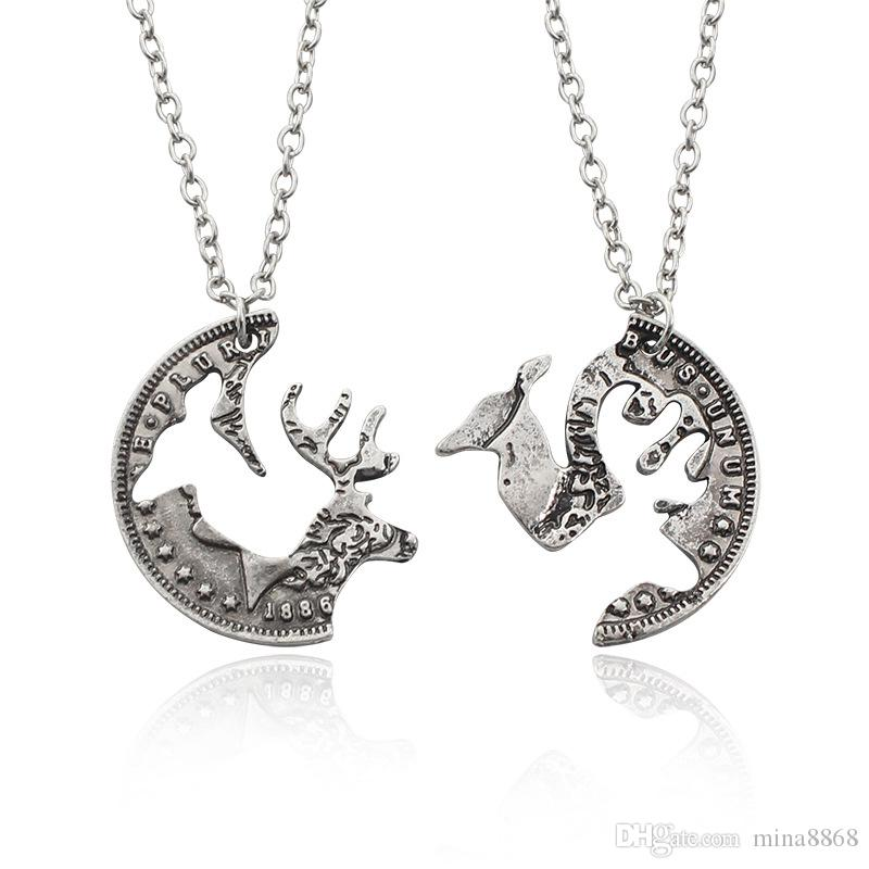 Antique Silver Tone Round Hollow elk stitching necklace for girls trendy creative round pendant girlfriends lovers gifts 1pcs