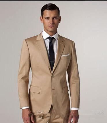 샴페인 턱시도 현대 골든 새틴 노치 옷깃 두 신랑 턱시도 남자 공식적인 저녁 웨딩 정장 슬림 피트 복장 소년 (코트 + 바지)