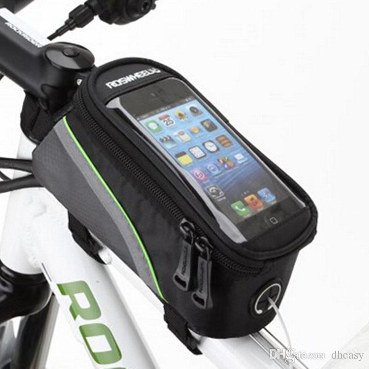 """Roswheel 4.2 """"4.8"""" 5.5 """"Pulgada Negro Ciclismo Bicicleta Bicicleta Frente Teléfono Bolsa Titular de la caja Zip Pouch para iPhone Teléfono celular móvil"""