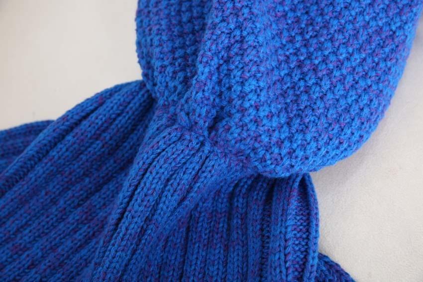 Yarn Knitted Mermaid Tail Blanket Handmade Crochet Mermaid Blanket Kids Throw Bed Wrap Super Soft Sleeping Bed X184 (40)