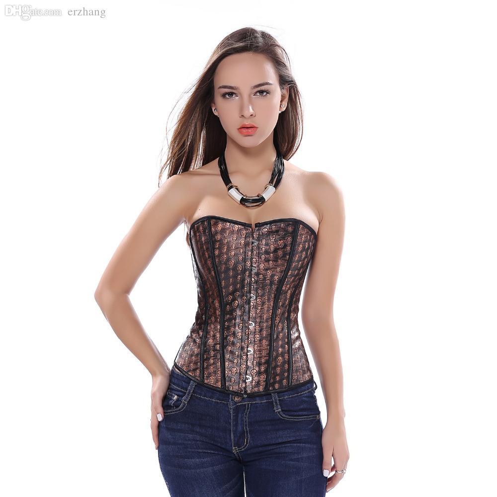 Оптовая торговля-искусственная кожа сексуальный коричневый Overbust корсет с черепом печати Хэллоуин пиратский костюм танцор топ плюс размер S-6X