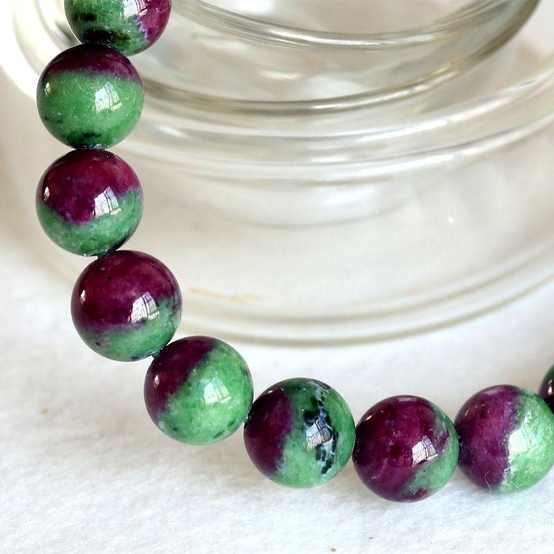 Alta Calidad Natural Genuino Medio Rojo y Verde Rubí Zoisita Acabado Pulsera Estirada Ronda Perlas Sueltas Joyería DIY 04353