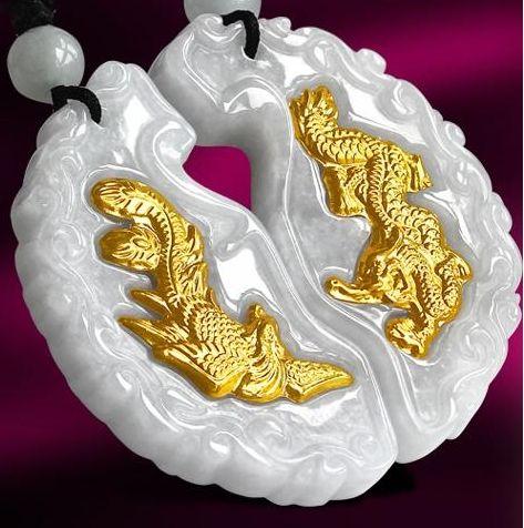 Lucky gold embutidos pingente de jade concêntrico longfeng (amantes). Pingente de colar.