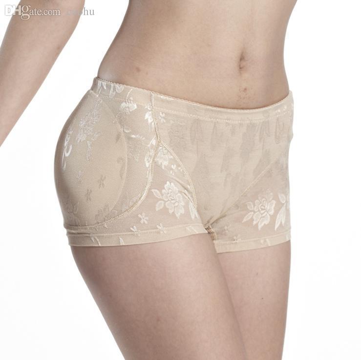 Al por mayor-Mujeres Falso Butt Pads Bragas de encaje de cintura baja Briefs Cuerpo que forma acolchado Fake Ass Bragas Plump Hip Buttock transpirable