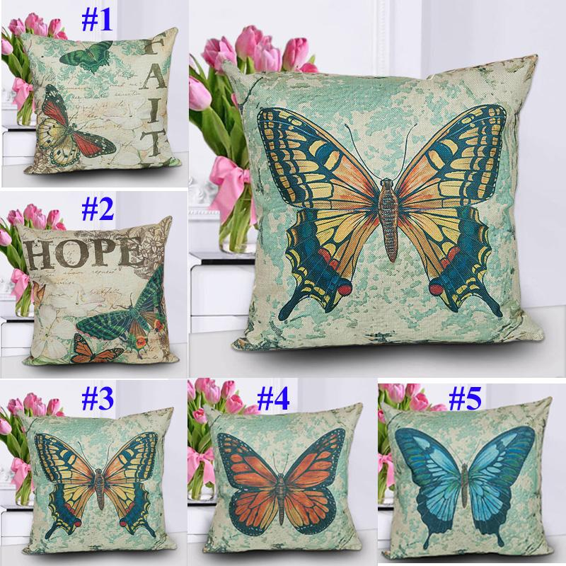 Estampado de mariposa Mezcla de algodón Funda de cojín de sofá Cute Papillon Naps Funda de almohada Funda de cojín de tela para el hogar