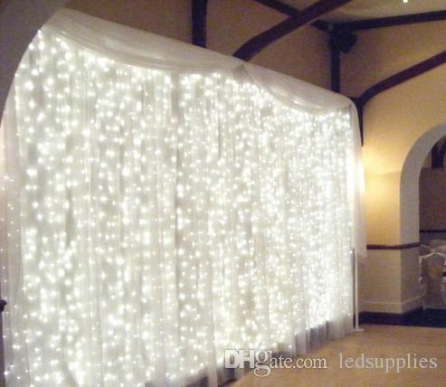 3M X 3M 300 LED 홈 야외 휴가 크리스마스 장식 웨딩 크리스마스 문자열 페어리 커튼 Garlands 스트립 파티 조명 방수