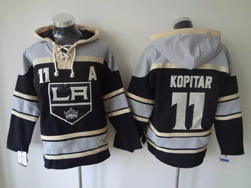 Top Qualität ! Old Time Hockey Trikots Los Angeles Kings 11 Anze Kopitar Schwarz Hoodie Pullover Sport Sweatshirts Winterjacke