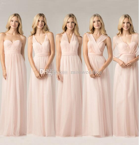 2016 새로운 스타일 심플한 디자인 라이트 핑크 신부 들러리 롱 드레스 스트레이트 시폰 드레스 웨딩 파티 도매 좋은 품질 우편 다시