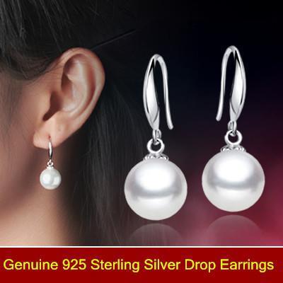 Pearl earrings Luxury shell pearl earrings 925 sterling silver drop earrings, Fashion bridal/Wedding dangle brinco prata Jewlery gift 0078
