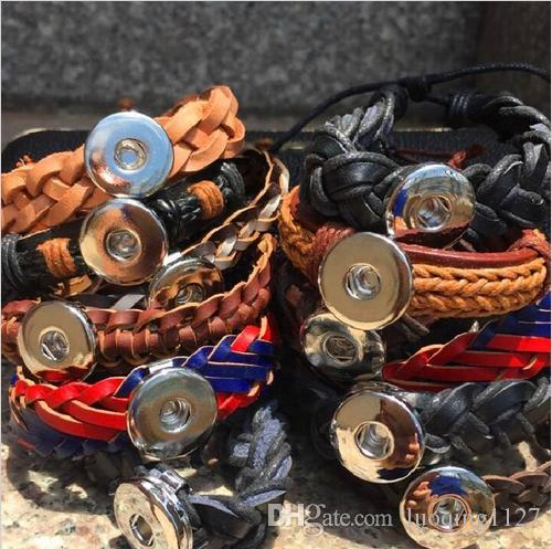 Оптовая mix стили 15 шт. кожа Оснастки кнопка Шарм кусок имбирь сменные ювелирные изделия манжеты браслеты новый