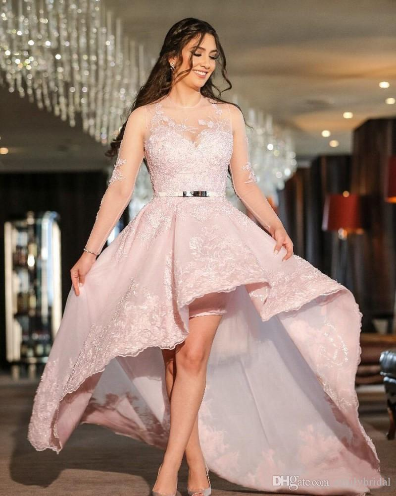 Pink Hi Lo Prom Dresses With Sleeves Pretty Women Formal Gowns Short ...