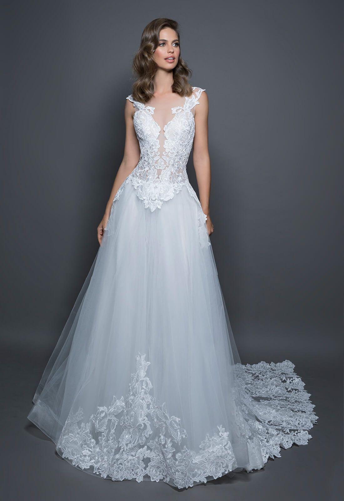 Discount 5 Models A Line Wedding Dresses 2018 Pnina Lace ...
